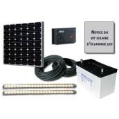 Kit solaire d'éclairage 2 réglettes LED 12V 12W