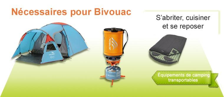 Bivouac : Tente, sac de couchage, réchaud, glacière, mauble et sac de transport