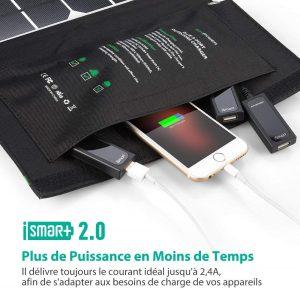 Panneau chargeur solaire pliable RAVPower 3 ports USB avec rangement de vos appareils