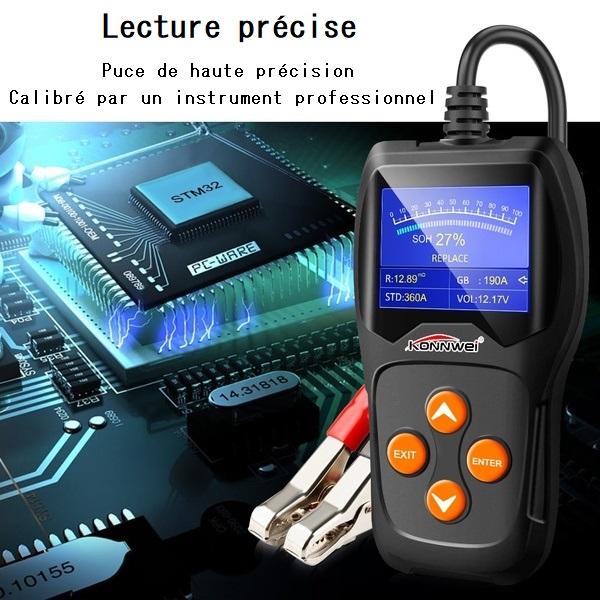Lecture précise du testeur de batterie Konnwei K600