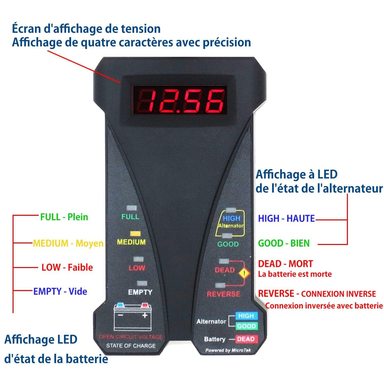 Testeur de batterie avec écran numérique pour des multiples tests précis