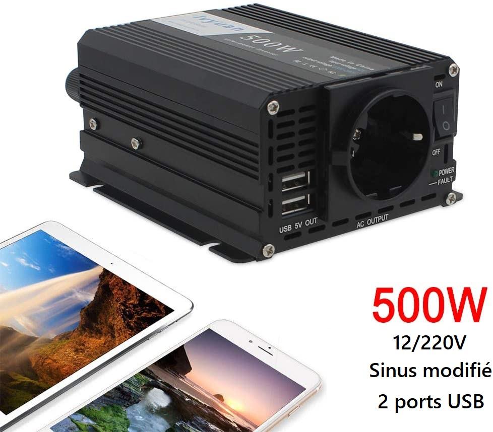Onduleur 12/220V Yinleader 500W avec sinus modifié et 2 ports USB