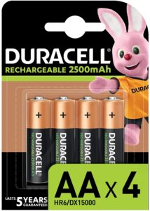 Piles rechargeables Duracell 2500mAh x4