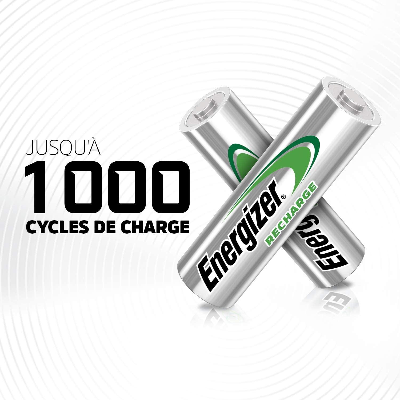 Piles rechargeables Energizer jusqu'à 1000 cycles de charges et décharge