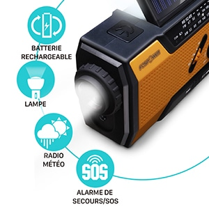 Radio solaire d'urgence multifonction