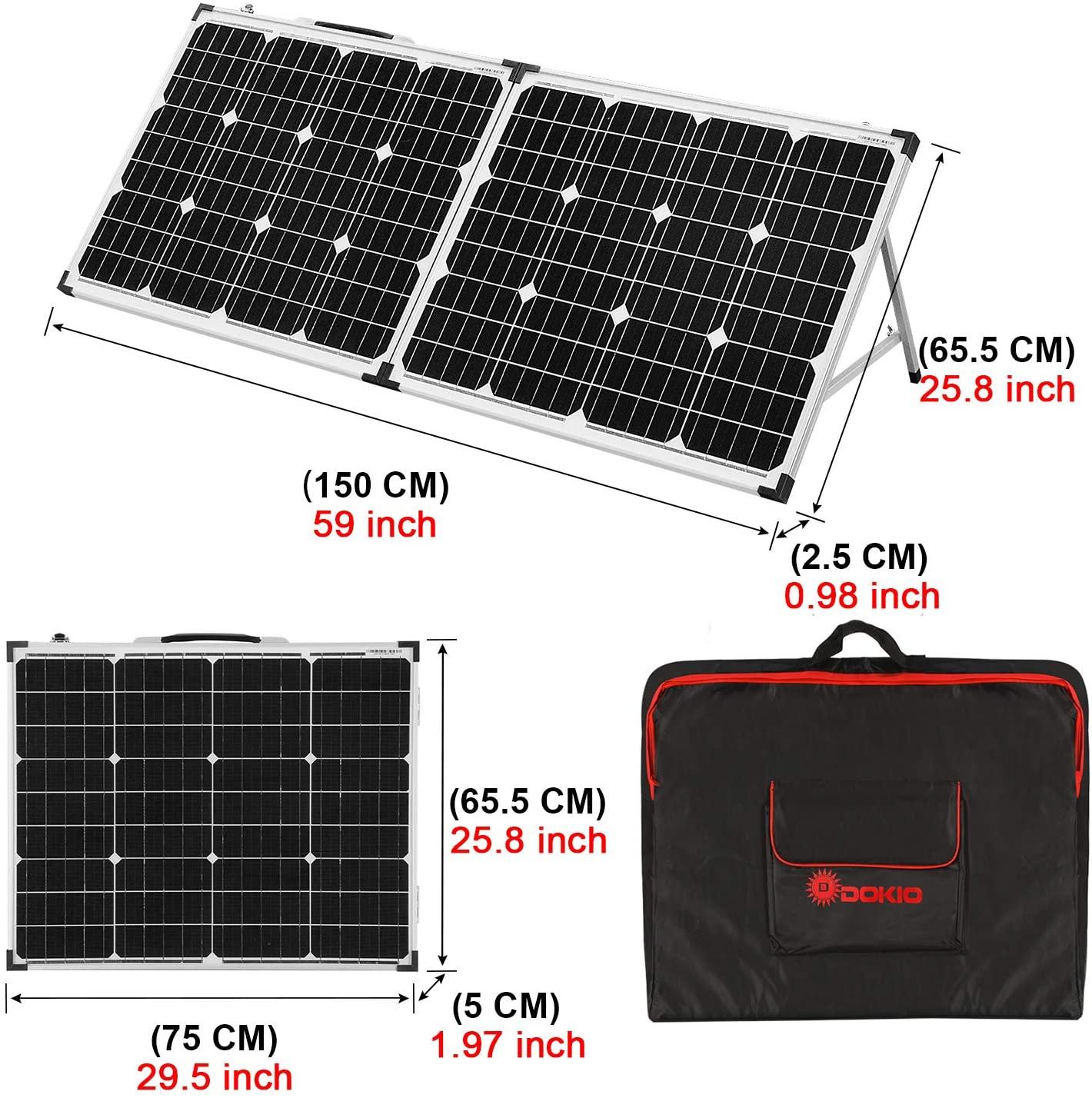 Dimensions du kit solaire Dokio 100W plié et déplié + housse de transport