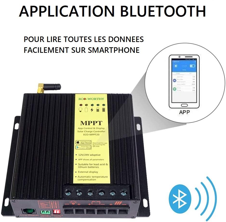 Application pour smartphone EcoWorthy BLUETOOTH afin de visualiser toutes les données facilement