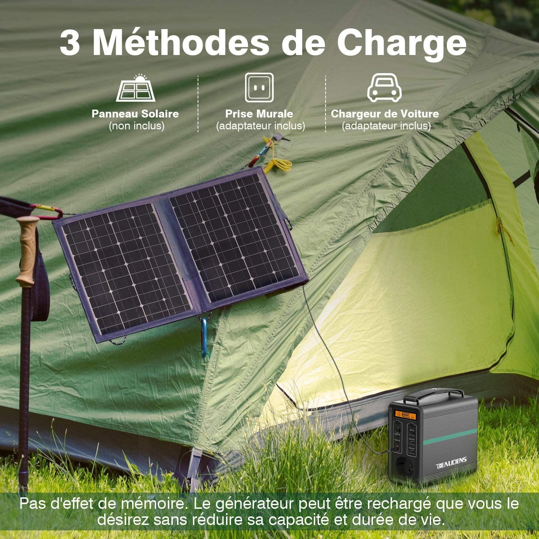 Les trois façons différentes de recharger le générateur d'énergie Beaudens 166Wh