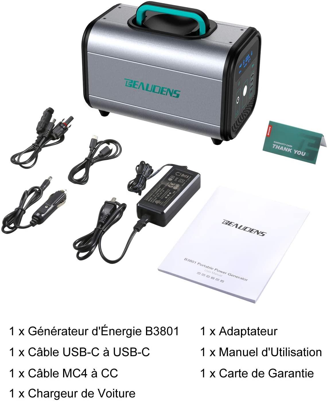 Le générateur Beaudens 384Wh est livré avec plusieurs câbles et adaptateurs de charge