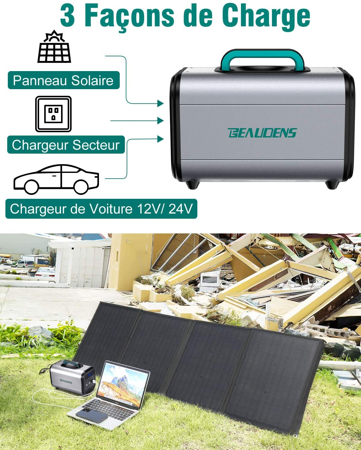 3 modes différents pour recharger le générateur solaire Beaudens 384Wh