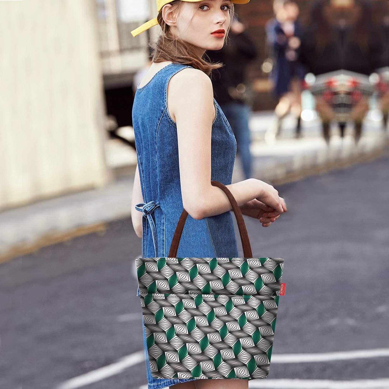Lunch Bag femme vert avec des motifs géométrique
