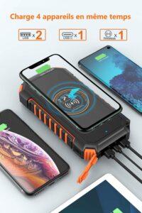 Chargeur solaire avec 4 ports de charge, 3 ports USB + charge sans fil