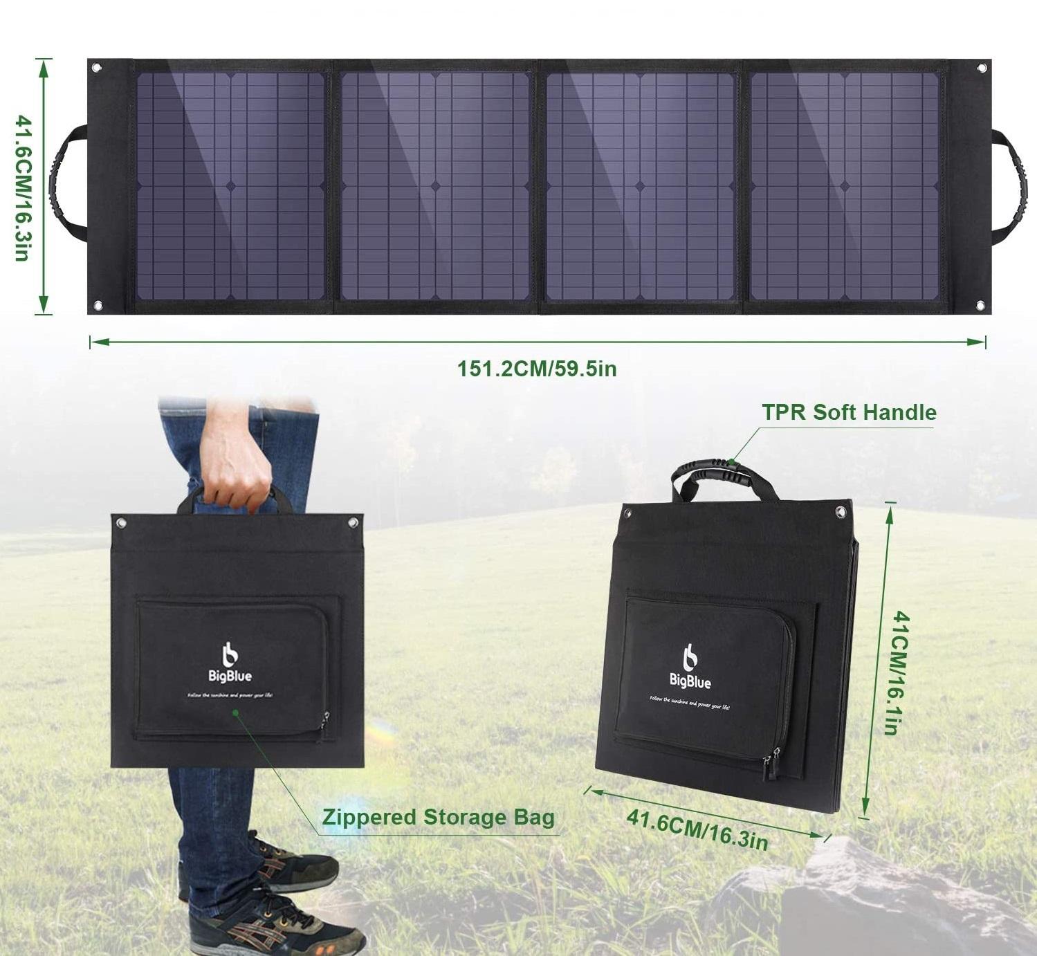 Pratique à transporter, le chargeur solaire BigBlue 80W au format mallette une fois replié