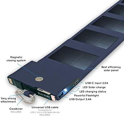 Chargeur solaire Photon avec batterie intégrée, adaptateur USB, lampe, etc