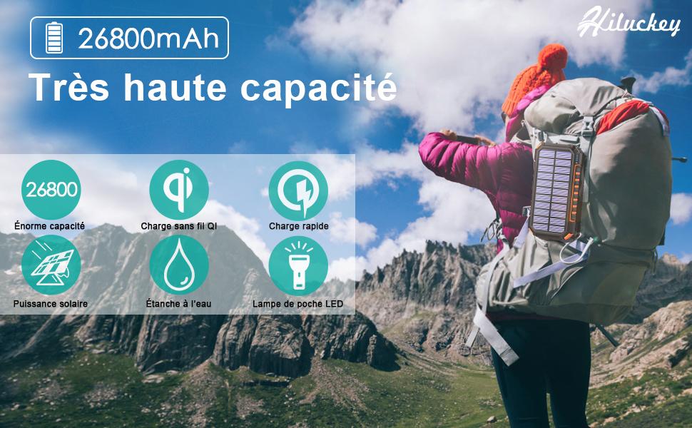 Chargeur solaire de poche haute capacité et multifonction