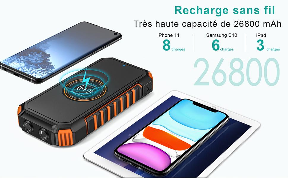 Chargeur solaire avec recharge sans fil et 3 ports USB dont un charge rapide de type C