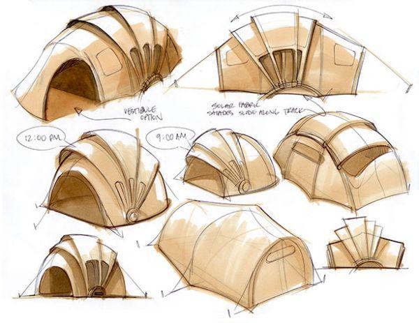 La tente solaire est modulable tout au long de la journée
