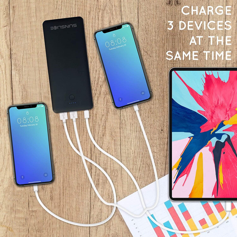 La batterie nomade Sunslice Gravity 45 est capable de recharger 3 appareils simultanément
