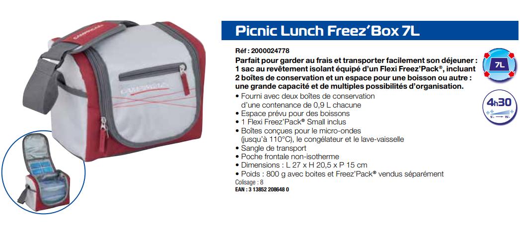 Caractéristiques du Lunch Bag Campingaz Picnic Lunch 7L avec pain de glace et boites hermétiques inclus