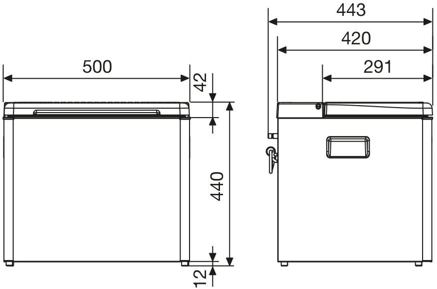 Croquis des dimensions de la glacière Dometic RC1600 EGP