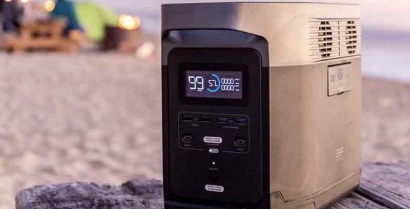 Station de charge portable EcoFlow Delta avec écran LCD lumineux