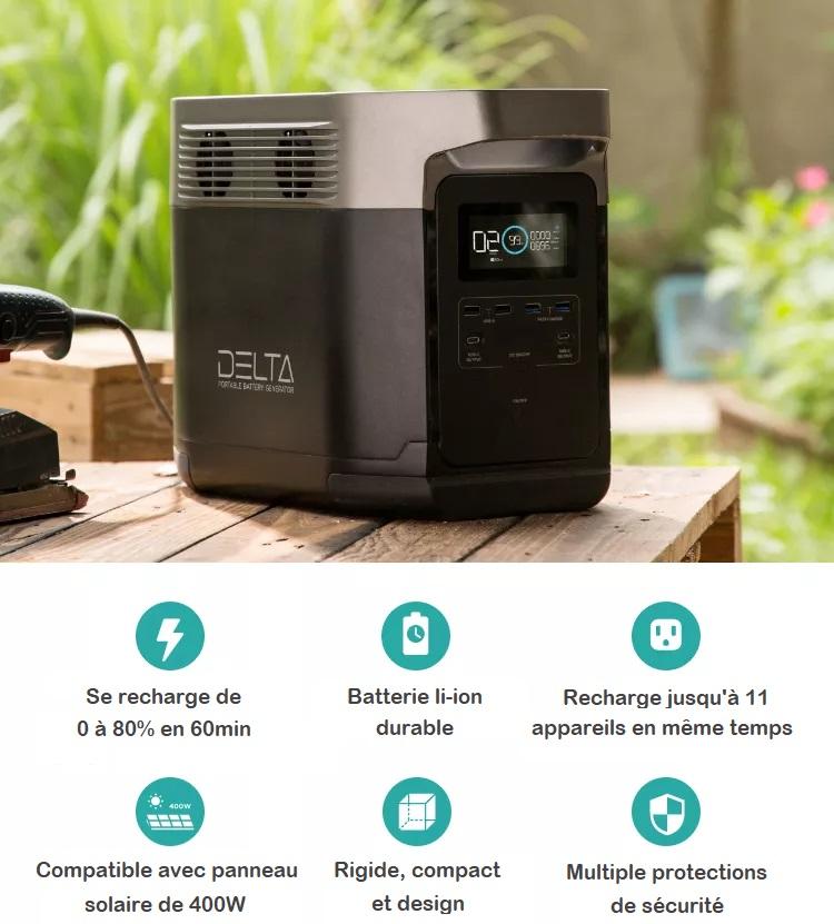 Le meilleur générateur solaire de l'année 2021 avec EcoFlow Delta 1260Wh 1800W
