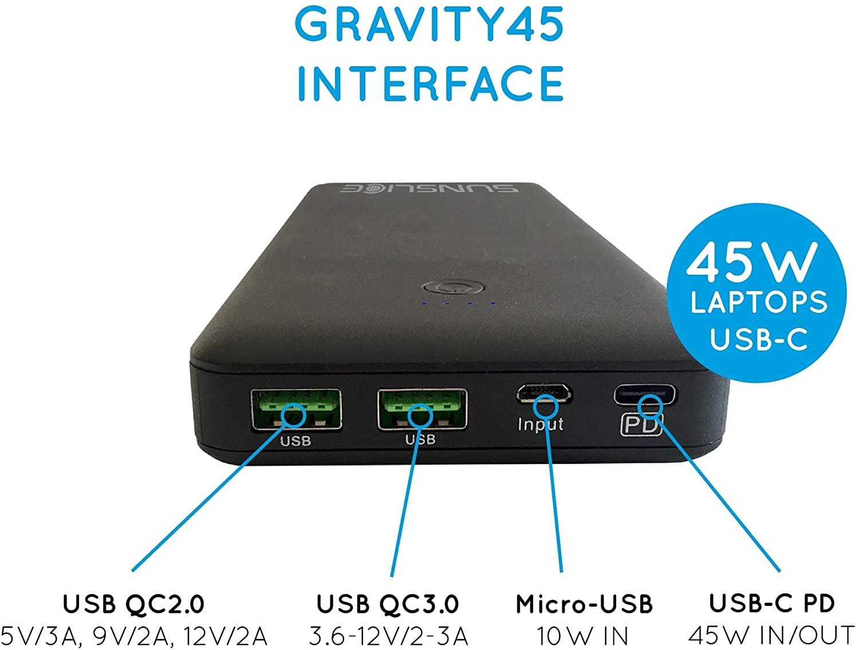 Plusieurs ports USB dont l'un avec charge rapide sont intégrés à la batterie externe Gravity 45