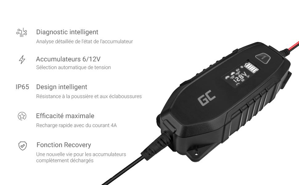 Le chargeur de batterie voiture Green Cell 4A est automatique et intelligent