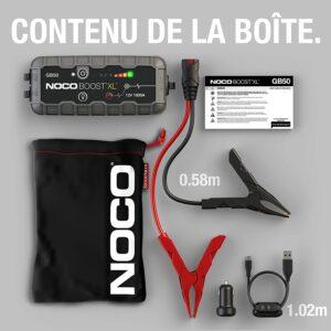 Plusieurs accessoires et une housse sont fournis avec le booster de batterie Noco GB50