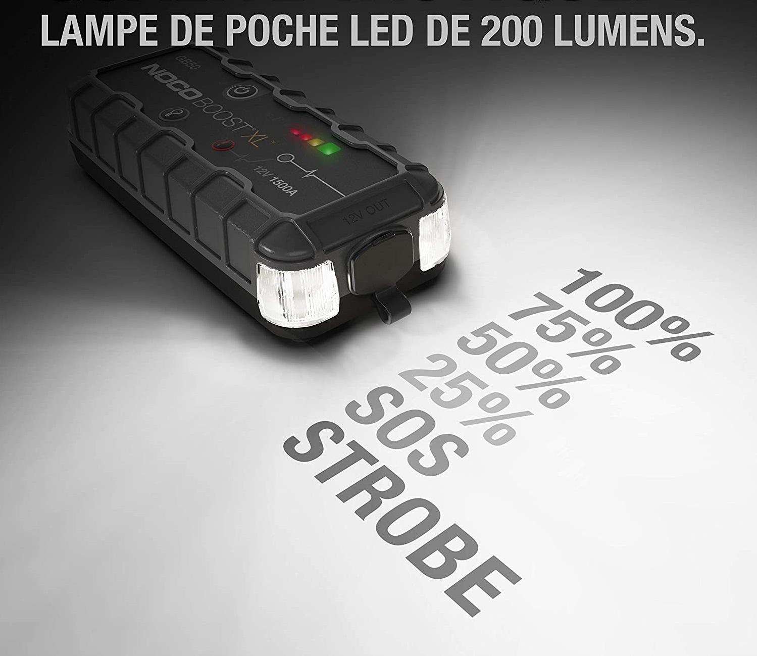 Profitez d'une puissante lampe LED de 200 lumens et 7 modes d'éclairage avec le Noco GB50
