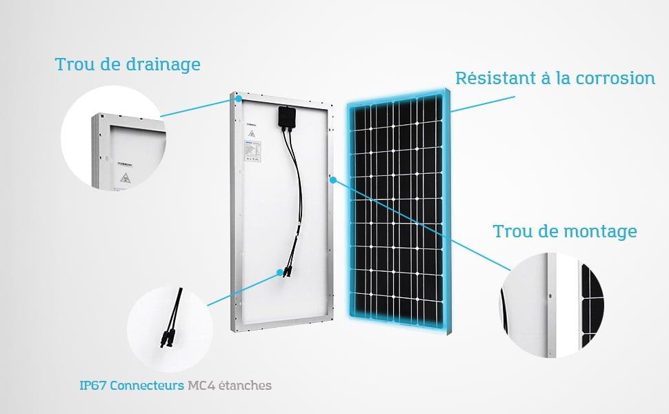 Kit solaire RENOGY de 100 watts. Robuste, résistant à la corrosion, étanche, trous drainage, MP4