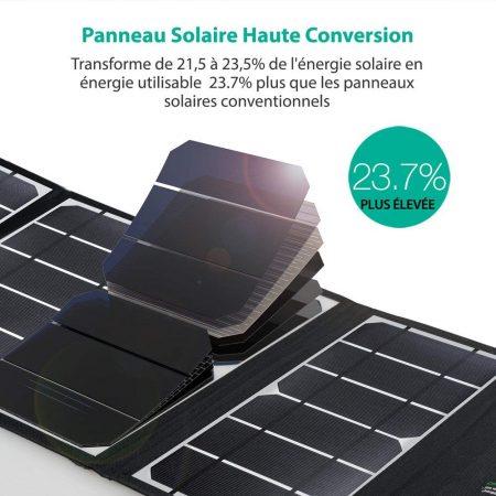 Chargeur solaire pliable RAVPower 24W plus puissant que d'autres panneaux solaires